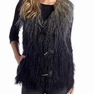 ROMEO & JULIET S Gray Ombre Shag Faux Fur Vest